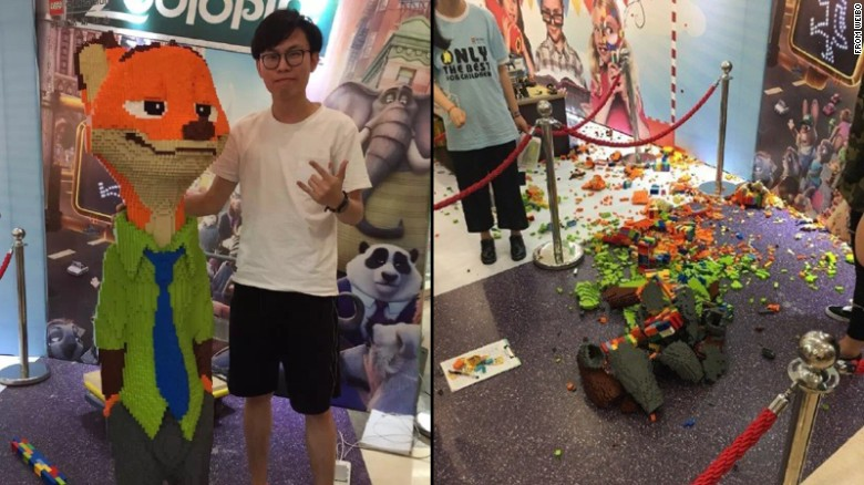 Child demolishes $15K Lego statue