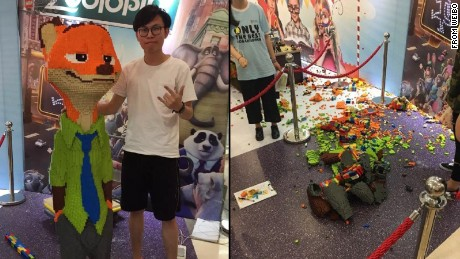 Kid destroys $10,000 LEGO sculpture designed by Chinese artist.