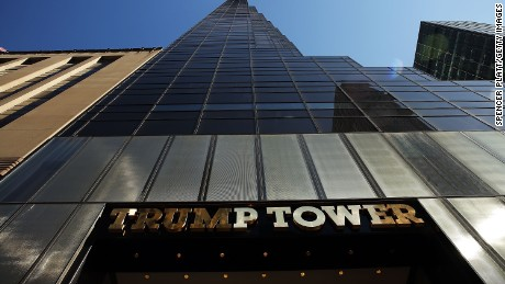 Trump Tower stands along 5th Avenue in Manhattan as police stand guard outside following an earlier protest against Republican presidential candidate Donald Trump in front of the building on March 12, 2016 in New York City.