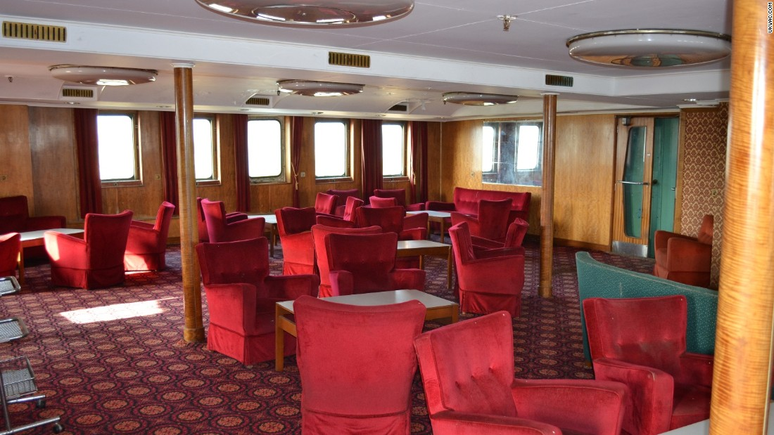 Interior of the once luxury cruise liner was carpeted with plush red velvet chairs. The liner had a restaurant and cinema as well as the arcade games.