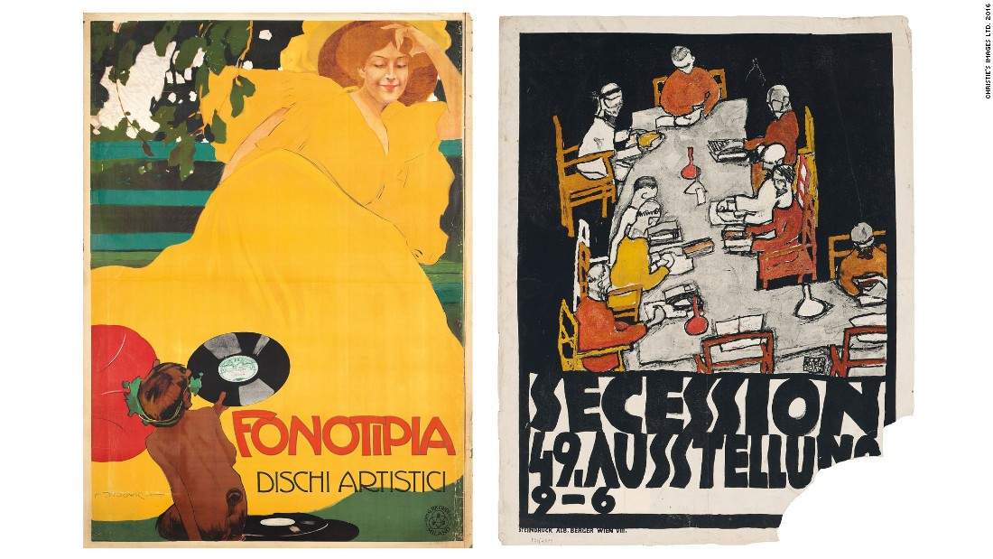 "One hundred rare posters from early 20th century collector Dr. Hans Sachs are going up for auction at Christie's. The posters, which once belonged to the German-Jewish denitist, were seized by the Nazis prior to World War II and never returned. They are expected to fetch more than $435,000.<br /><strong><br />Pictured:</strong> ""Fonotipia"" (left) by Marcello Dudovich (1878-1962), estimate: $2,890-4,330 and ""Secession 49. Austellung"" by Egon Schiele (1890-1918), estimate: $2,890-4,330."
