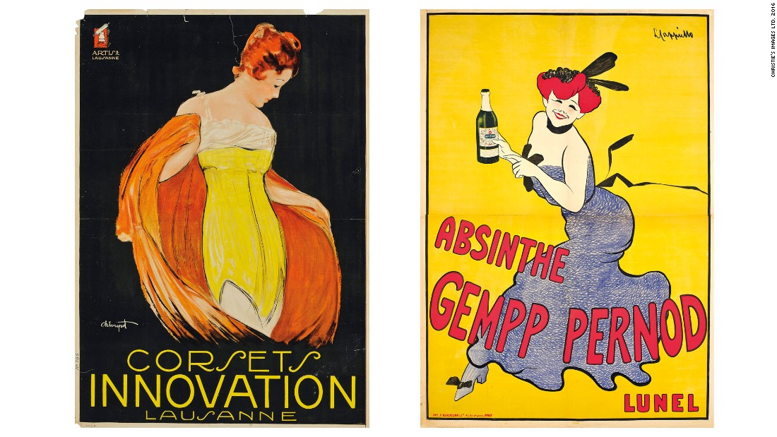 """Corsets Innovation"" (left) by Charles Loupot, estimate: $7,220-10,100 and ""Absinthe Gempp Pernod"" by Leonetto Cappiello, estimate: $1,445-2,165."