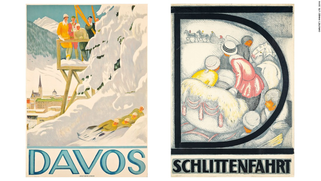 """Davos"" (left) by Emil Cardinaux, estimate: $11,550-17,320 and ""Davos"" by Burkhard Mangold (1873-1950), estimate: $17,320-26,000."