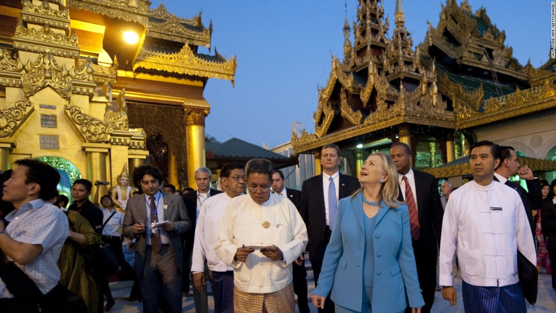 Clinton tours the Shwedagon Pagoda, a Buddhist temple founded between the 6th and 10th centuries, in Myanmar on December 1, 2011.