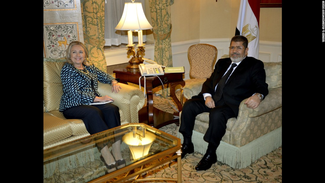 Egyptian President Mohamed Morsy meets with Clinton in New York on September 24, 2012.