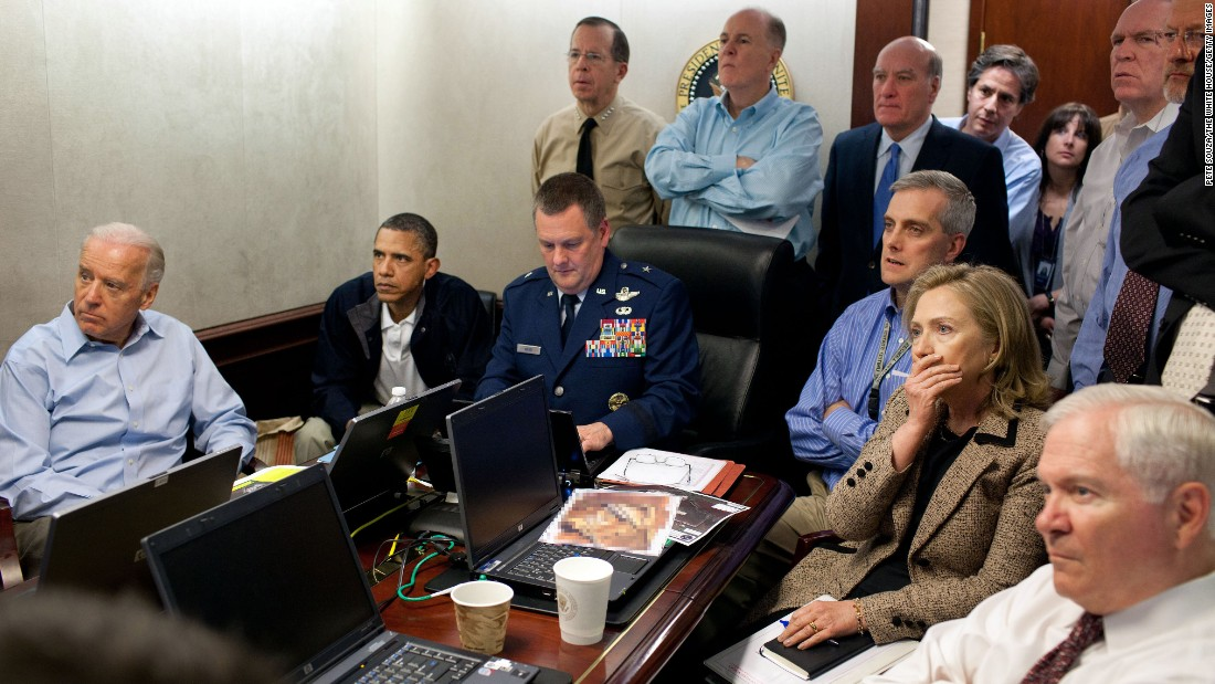 President Barack Obama, Vice President Joe Biden, then-Secretary of State Hillary Clinton and members of the national security team receive an update on the mission against Osama bin Laden in the Situation Room of the White House on May 1, 2011.