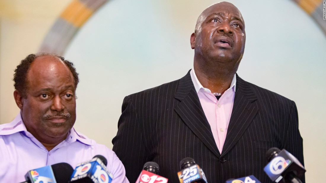 "Terry Banks, right, speaks about his late nephew, Corey Jones, during a news conference at a church in Boynton Beach, Florida, on Wednesday, June 1. Jones, 31, was fatally shot last year by former police officer Nouman Raja, <a href=""http://www.cnn.com/2016/06/01/us/florida-officer-charged/"" target=""_blank"">who has been charged</a> with attempted first-degree murder and manslaughter by culpable negligence."