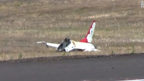 A Thunderbird crashed outside Colorado Springs just after the Colorado Springs, Colorado, performance Thursday.