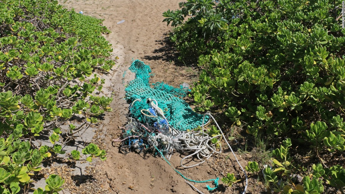 An aerial survey conducted between August through November 2015 suggests that this wave of trash is being carried in by the ocean's current.