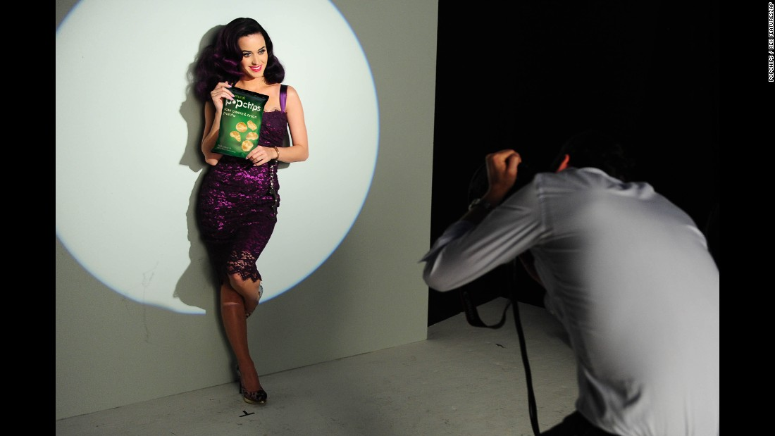 Katy Perry pitches Popchips, a potato chip that is heated in a pressurized chamber instead of fried, which the manufacturer says reduces fat and calories.  Popchips still have 5 grams of fat in a 1-ounce serving.