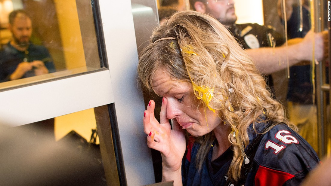 "A Donald Trump supporter wipes egg off her face on Thursday, June 2, after <a href=""http://www.cnn.com/2016/06/02/politics/donald-trump-california-protesters/"" target=""_blank"">clashes broke out between Trump supporters and Trump protesters</a> in San Jose, California. Trump was holding a rally at the nearby convention center."