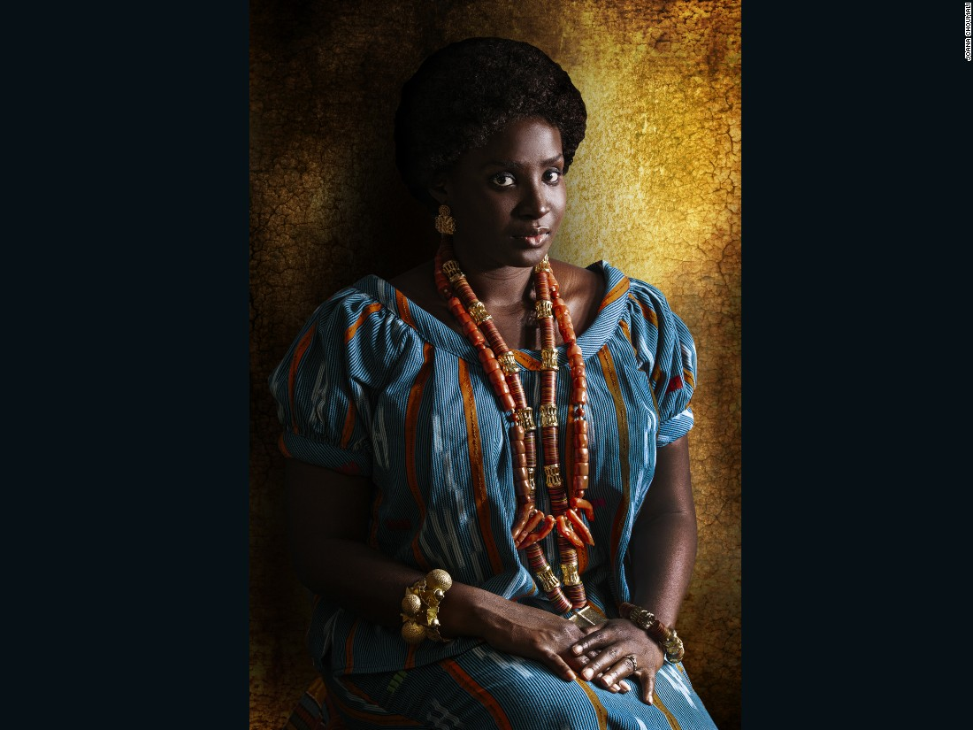 "Photographer Joana Choumali has captured images of young African women in traditional clothing in her series ""Resilients,"" bridging the gap between heritage and modern living. Many from this generation are told they aren't ""real Africans,"" she says, as many have moved towards urban metropolitan lives, where it can become difficult to keep in touch with their ethnic roots."