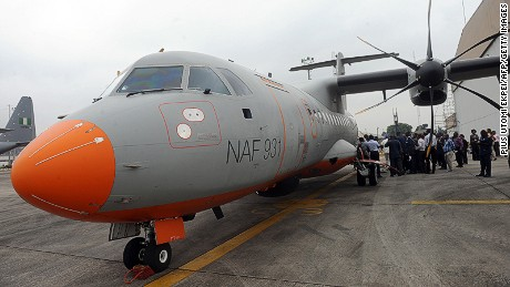 A Nigerian Airforce ATR 42-500 Maritime Patrol Aircraft, displayed in Lagos in 2014.