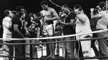 "Ali weighs in for the ""Thrilla in Manila,"" a 1975 fight against friend-turned-rival Joe Frazier."