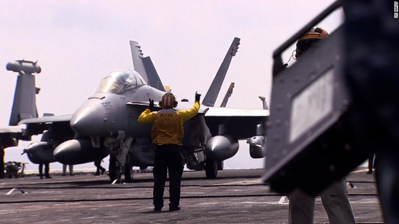 Aboard U.S. carrier conducting ISIS bombing missions