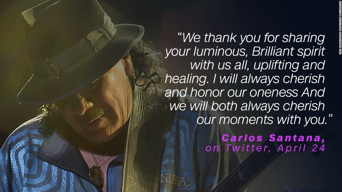 Carlos Santana took to Twitter a few days after Prince's death to offer up a spiritual message.