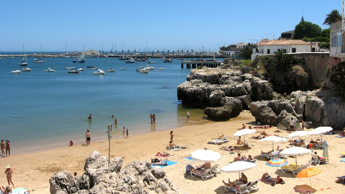 Vast stretches of sand and turquoise waters can be found east of the Portuguese capital.
