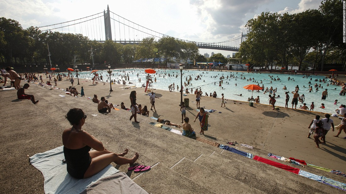 The vast 50-meter pool at Astoria Park is a popular cooling-off option in the heat of a New York summer.