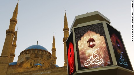 A general view taken on June 5, 2016 shows a large lantern decorating the street in front of the Mohammad al-Amin Mosque in downtown Beirut, Lebanon.