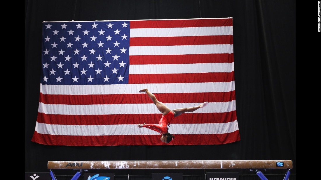 Simone Biles competes on the balance beam, an event she won Saturday, June 4, at the U.S. Classic in Hartford, Connecticut.