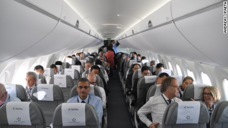 Passengers aboard the special SWISS Bombardier CS100 flight Friday.