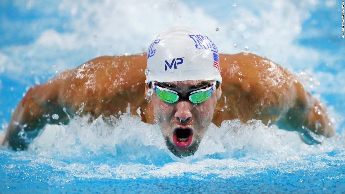 U.S. swimming legend Michael Phelps competes in the 100-meter butterfly Friday, June 3, during the Longhorn Elite Invitational in Austin, Texas. He finished second to Singapore's Joseph Schooling.