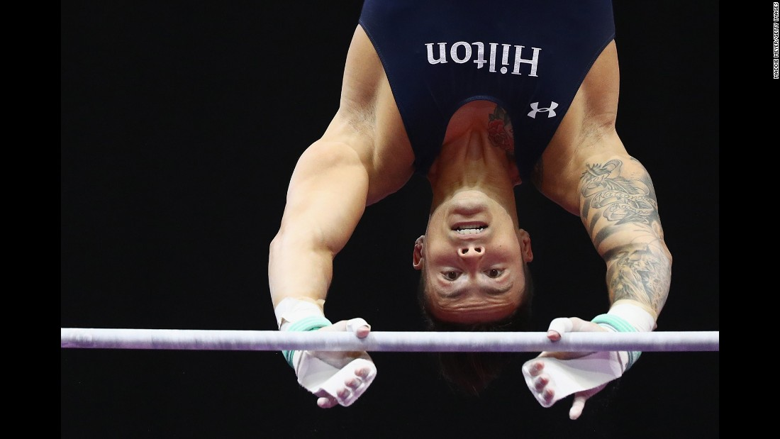 Paul Ruggeri III competes on the horizontal bar Friday, June 3, at the P&G Gymnastics Championships in Hartford, Connecticut.