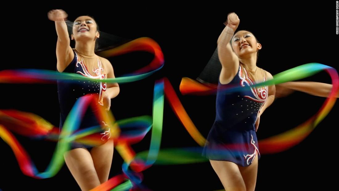 Rhythmic gymnasts perform at the Australian Gymnastics Championships on Saturday, June 4.