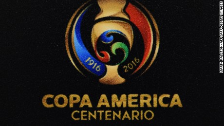View of the Copa America Centenario football tournament logo in Santa Clara, California, United States, on June 6, 2016.  / AFP / Mark Ralston        (Photo credit should read MARK RALSTON/AFP/Getty Images)