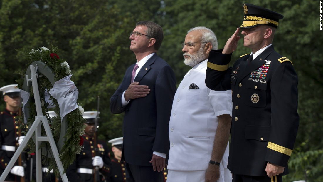 Modi is flanked by U.S. Secretary of Defense Ash Carter, left, and U.S. Army Maj. Gen. Bradley A. Becker.