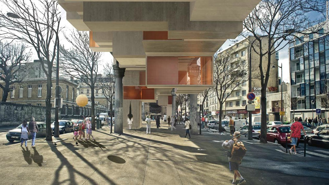 """In his book, """"Le Petit Paris"""", the architect envisions a future Paris where currently unused spaces are turned into flats, restaurants and shops."""