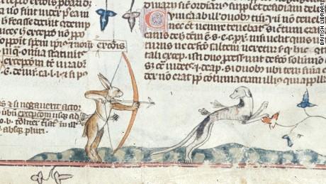 A rabbit hunts a greyhound in the margin of the Smithfield Decretals.