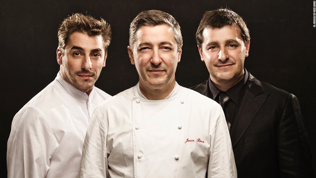 Executive chef Joan Roca, center, stands with his brothers, pastry chef Jordi and sommelier Josep. Last year's winner, the Girona restaurant slipped to number two.