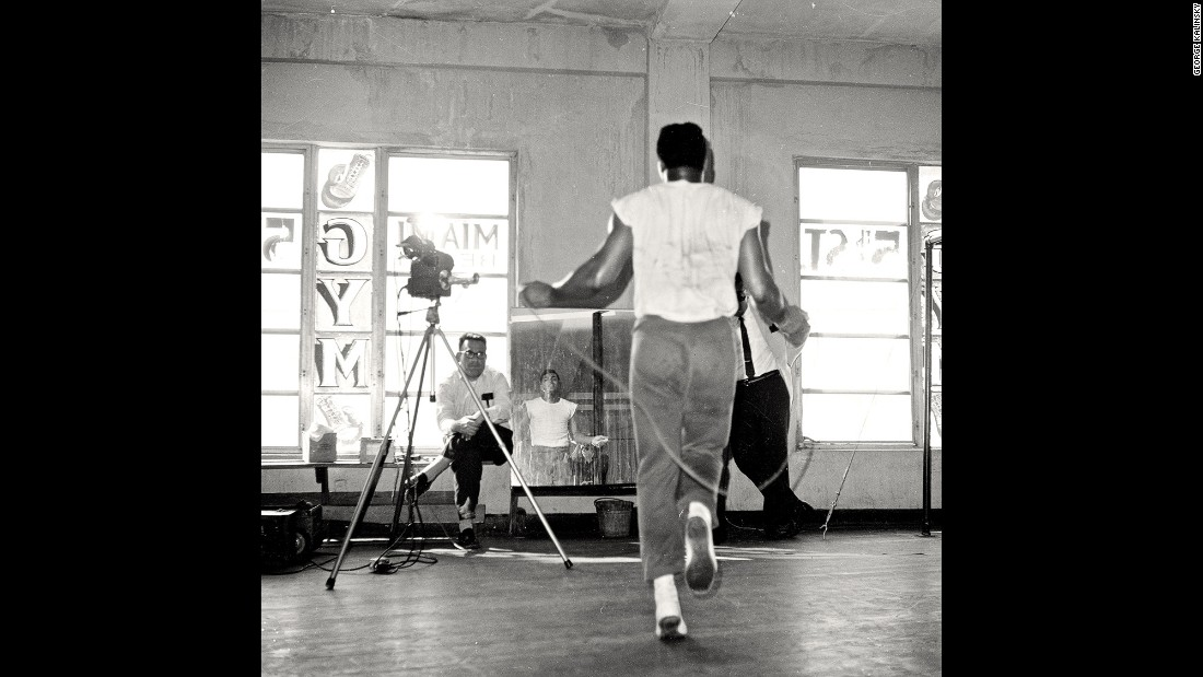 "People at the 5th Street Gym watch Ali jump rope in December 1965. ""At that point, photographers weren't taking pictures of athletes doing what they do behind the scenes,"" Kalinsky remembers. The photographer, now 80, has been with Madison Square Garden for more than 50 years."