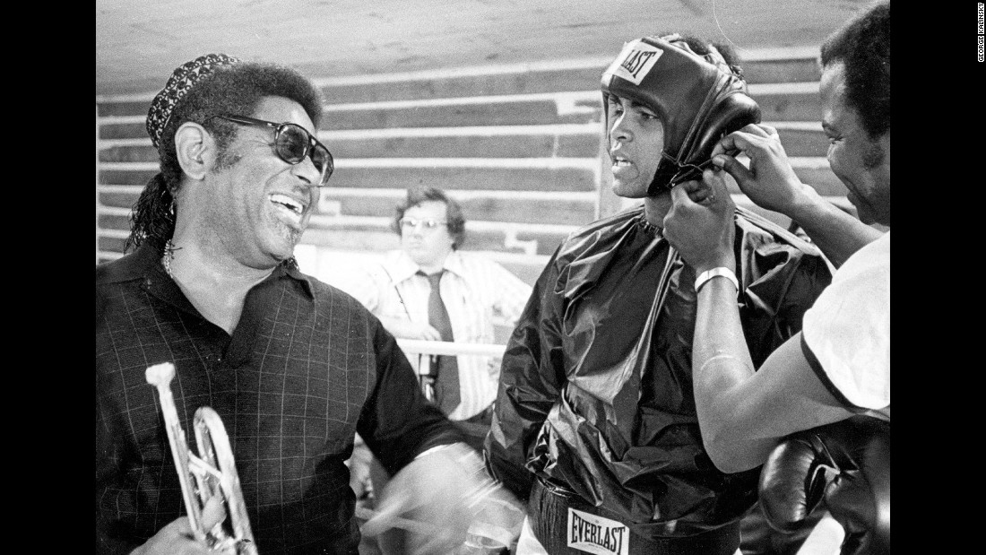 Legendary jazz musician Dizzy Gillespie laughs with Ali at the boxer's training camp in Deer Lake, Pennsylvania, circa 1972. Kalinsky took many photos of Ali over the years, and the two formed a friendship.
