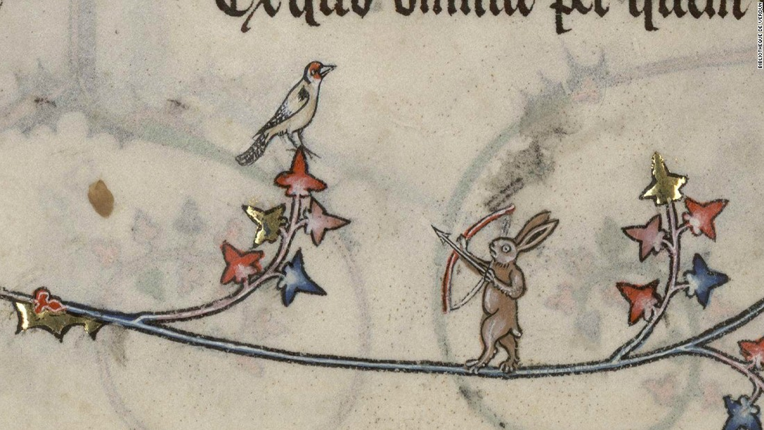 Not content with yoking the canine world, bunnies also went after woodpeckers.<br /><em><br />Pictured: Ms 107, Bréviaire de Renaud de Bar (1302-1304), fol.-89r-127v, Bibliothèque de Verdun</em>