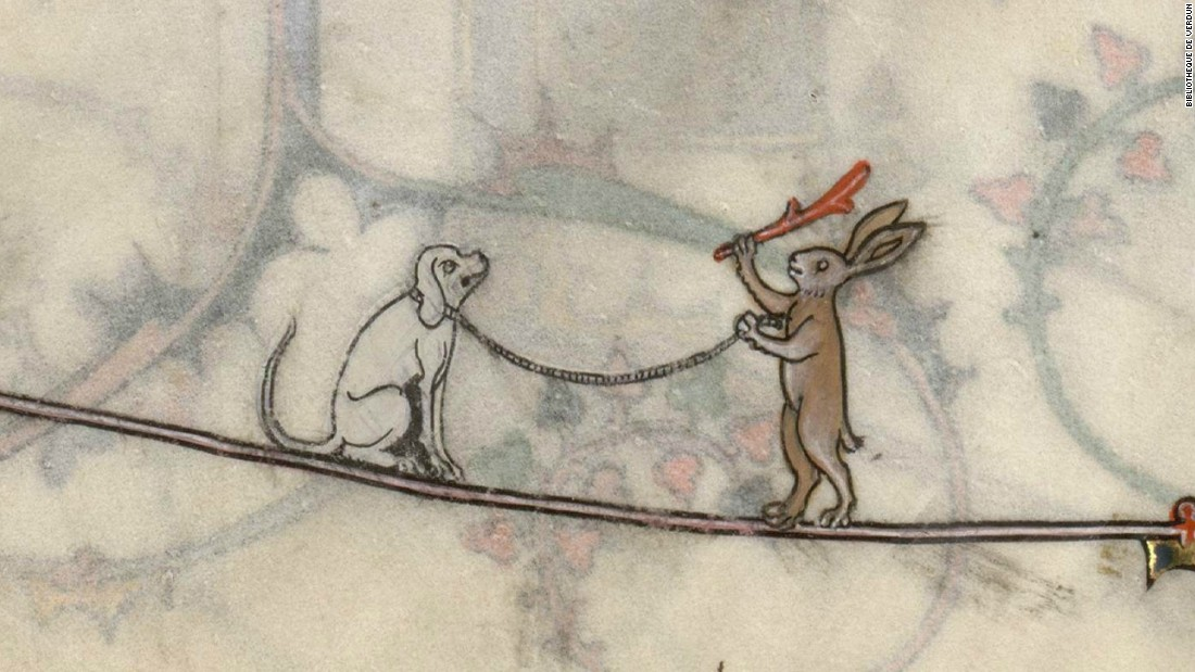 Perhaps unsurprisingly, the rabbits come off better in the end.<br /><em><br />Pictured: Ms 107, Bréviaire de Renaud de Bar (1302-1304), fol.-89r-129r, Bibliothèque de Verdun</em>