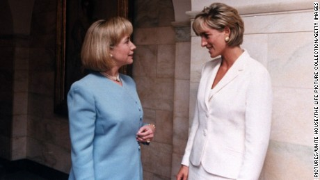 Then First Lady Hillary Rodham Clinton wth Diana, Princess of Wales, in 1997.