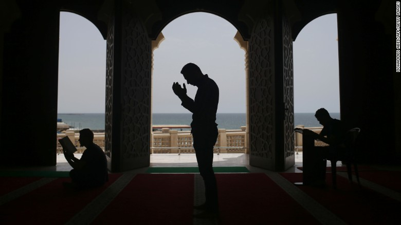Palestinians pray at the al-Khaldi mosque in Gaza City during the Muslim holy month of Ramadan.