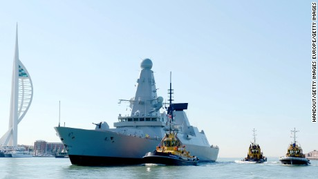 The Royal Navy's Type 45 Destroyer, HMS Defender sails into the HM Naval Base Portsmouth for the first time on July 25, 2012.