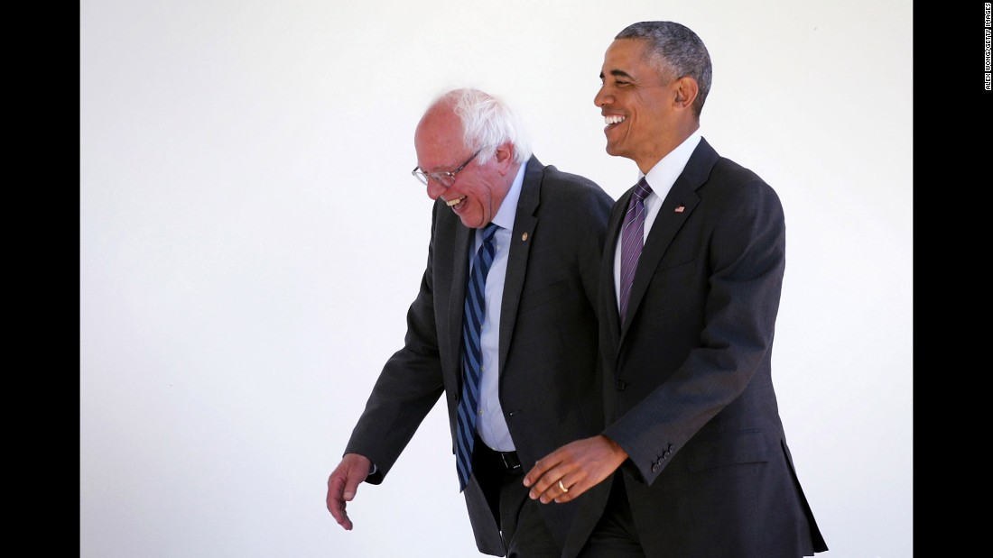 "U.S. President Barack Obama, right, walks with U.S. Sen. Bernie Sanders at the White House on Thursday, June 9. The two met for more than an hour. When it was over, Sanders vowed to work with Hillary Clinton, the Democratic Party's presumptive nominee, <a href=""http://www.cnn.com/2016/06/09/politics/bernie-sanders-washington/index.html"" target=""_blank"">and Obama formally endorsed Clinton.</a>"