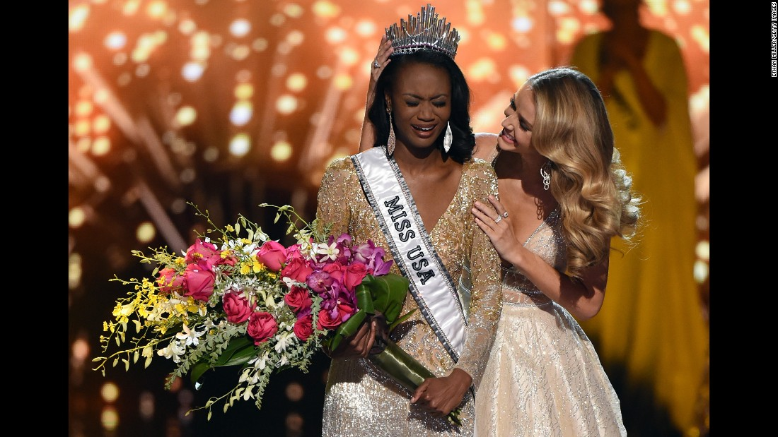 "Deshauna Barber, a 26-year-old from the District of Columbia, reacts as <a href=""http://www.cnn.com/2016/06/06/entertainment/miss-usa-winner-crowned/"" target=""_blank"">she is crowned Miss USA</a> on Sunday, June 5. Barber is an Army Reserve officer and IT analyst."