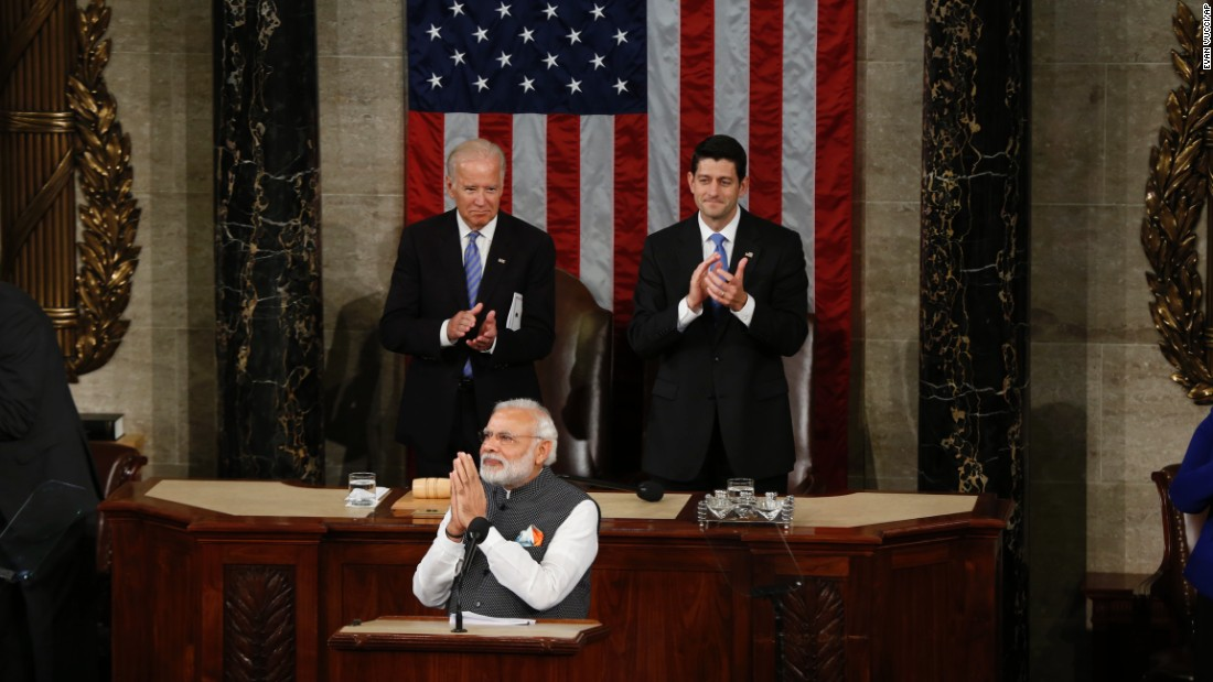 "Indian Prime Minister Narendra Modi addresses a joint meeting of the U.S. Congress on Wednesday, June 8. ""The traits of freedom and liberty form a strong bond between our two democracies,"" said Modi, <a href=""http://www.cnn.com/2016/06/07/world/gallery/modi-us-visit/index.html"" target=""_blank"">who was in the Washington area for a three-day visit. </a>"