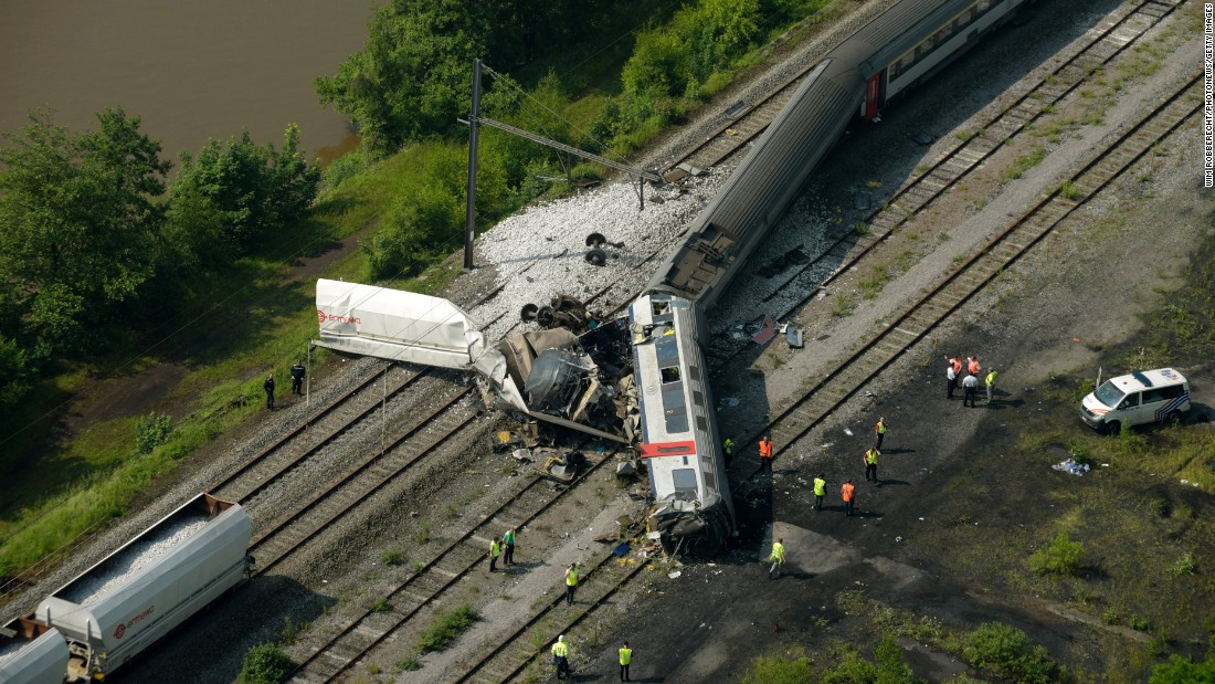 "An aerial view on Monday, June 6, shows where <a href=""http://www.cnn.com/2016/06/06/europe/belgium-train-crash/index.html"" target=""_blank"">a passenger train crashed into a cargo train</a> in eastern Belgium. At least three people were killed and dozens were injured, according to local police."
