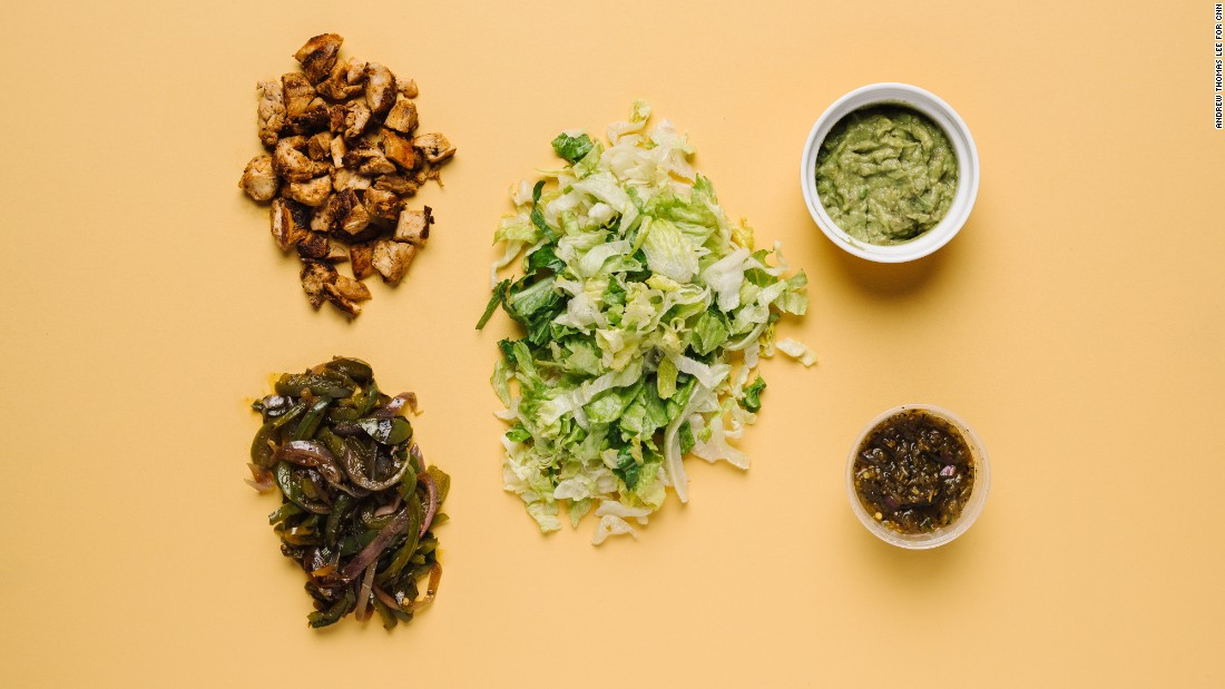 Low carbs at Chipotle are maintained by skipping the tortilla in a burrito bowl with chicken, fajita vegetables, tomatillo green-chili salsa, guacamole and romaine lettuce.