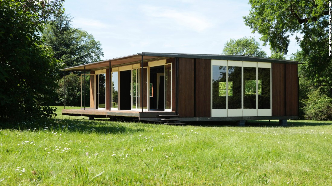 By 1947, Prouvé had conceived this modular steel and wood house, intended as a solution to France's urgent postwar housing needs.