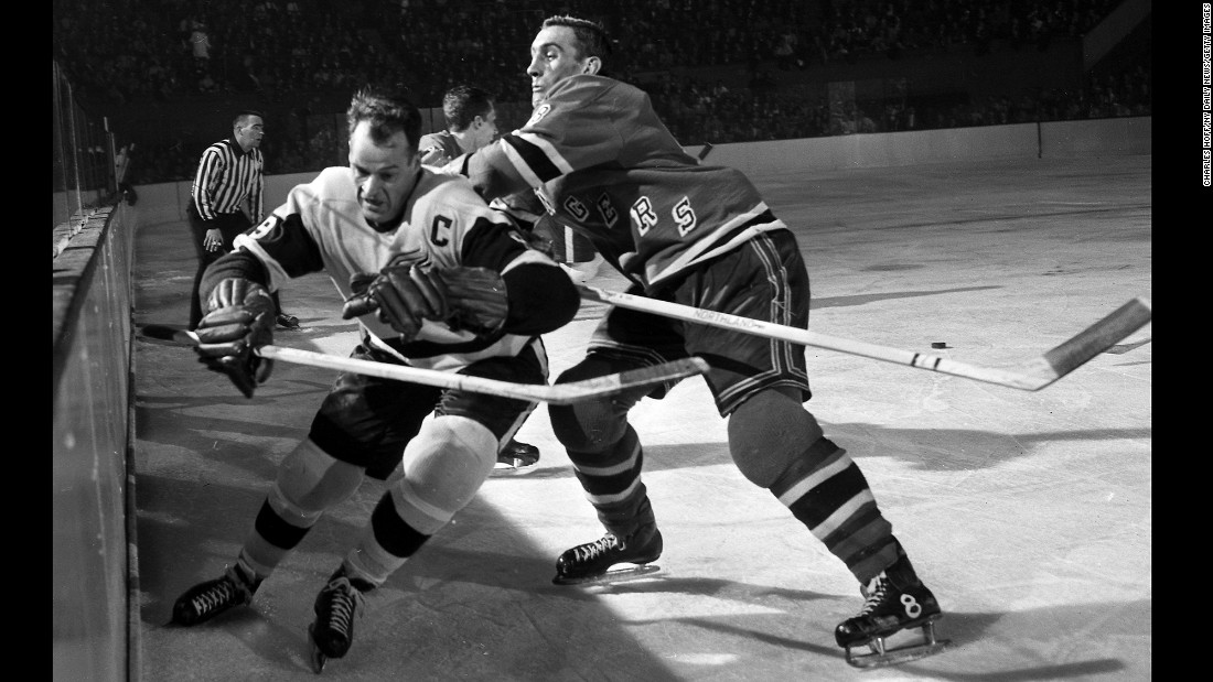 "Hockey legend <a href=""http://www.cnn.com/2016/06/10/us/gordie-howe-dies/index.html"" target=""_blank"">Gordie Howe</a>, left, scored 801 goals in his NHL career and won four Stanley Cups with the Detroit Red Wings. Howe, also known as ""Mr. Hockey,"" died June 10 at the age of 88, his son Marty said."