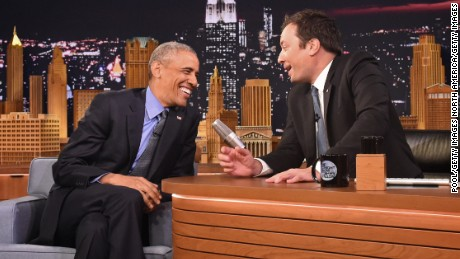 "NEW YORK, NY - JUNE 08: President Barack Obama speaks with Jimmy Fallon on the set of the ""The Tonight Show Starring Jimmy Fallon"" on June 8, 2016 in New York City. President Obama is the first sitting president to appear on the show. (Photo by Thomas A. Ferrara-Pool / Getty Images)"