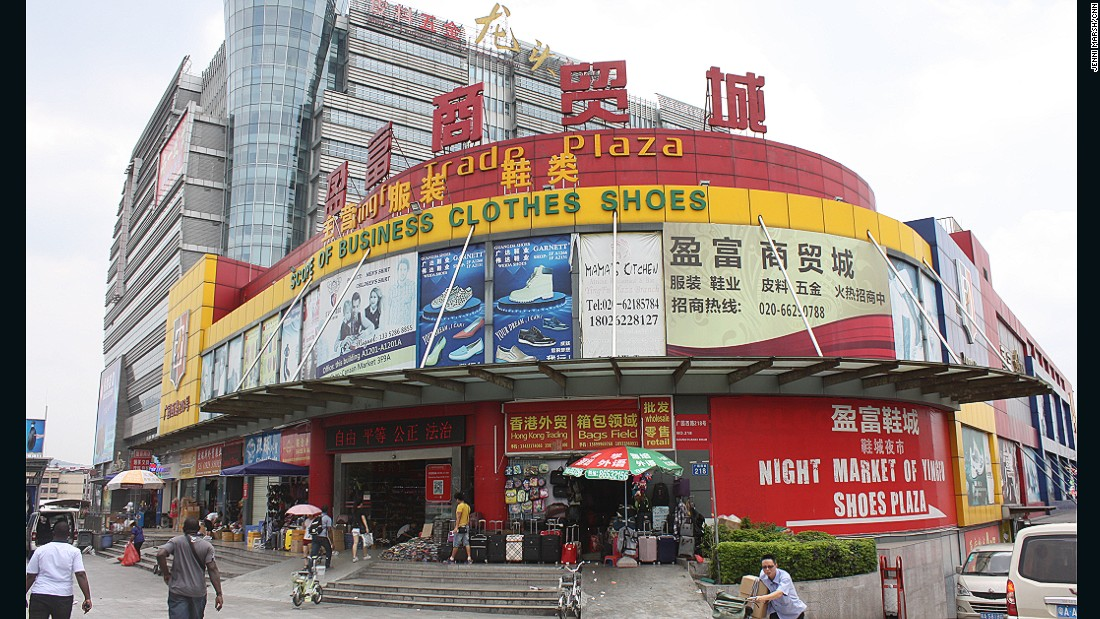 The Yingfu Trade Plaza is home to scores of garment Chinese-run shops, servicing African demand for wholesale goods.