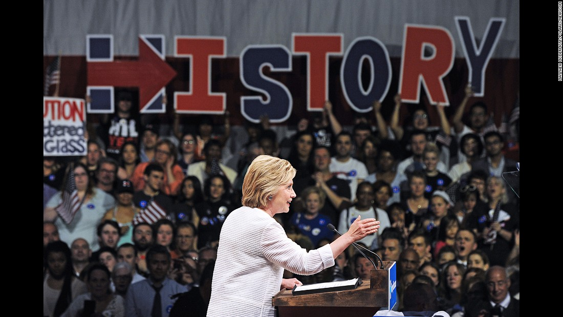 "Presidential candidate Hillary Clinton, the Democratic Party's presumptive nominee, speaks to supporters during <a href=""http://www.cnn.com/2016/06/08/politics/hillary-clinton-victory-rally-time-lapse/index.html"" target=""_blank"">a rally in New York</a> on Tuesday, June 7. She would be the first woman in U.S. history to lead the ticket of a major political party. <a href=""http://www.cnn.com/2016/03/08/politics/gallery/female-firsts-in-politics/index.html"" target=""_blank"">See other female firsts in politics</a>"